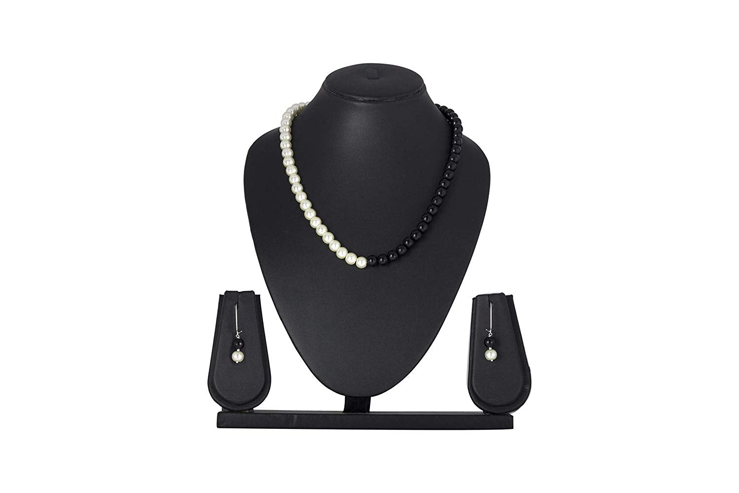 JFL - Jewellery for Less White Pearl & Black Beads Latest Necklace Set for Women & Girls, Office, Daily Casual Wear.