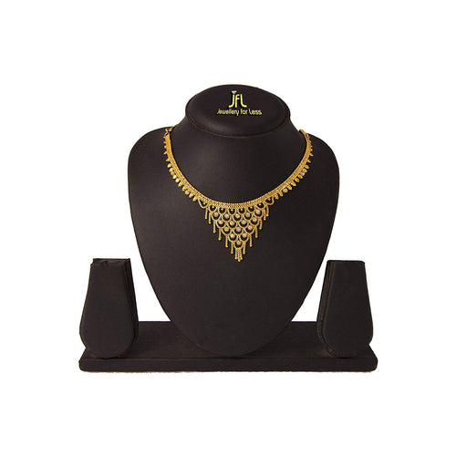 JFL - Jewellery for Less Traditional White CZ American Diamonds and 1 g Gold Plated Ethnic RaniHaar Necklace for Women & Girls