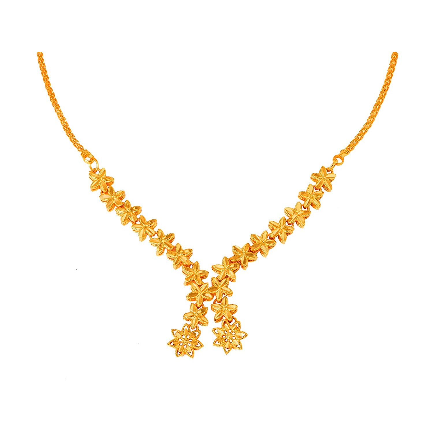 JFL - Traditional Ethnic One Gram Gold Plated Flower Designer Necklace for Women & Girls