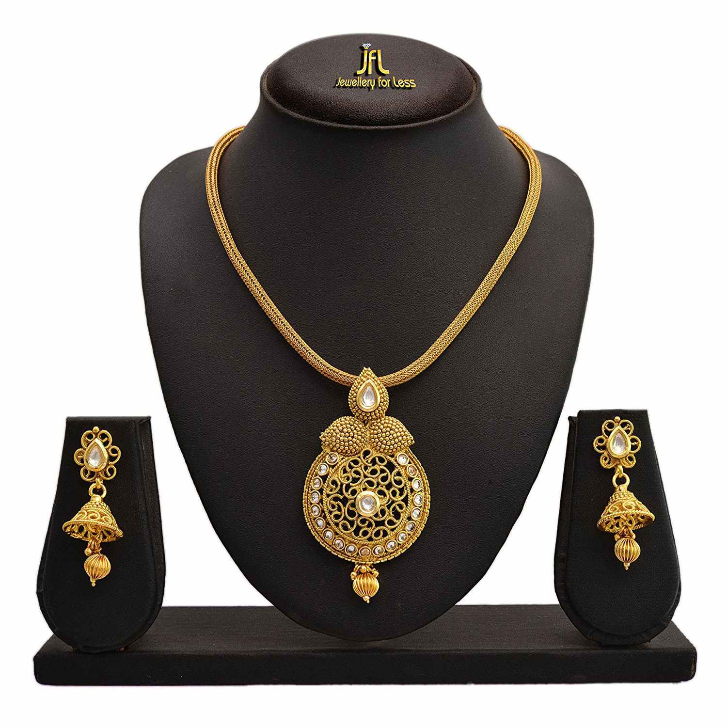 Traditional Ethnic One Gram Gold Plated Polki Diamonds & Kundan Designer Pendant Set for Women