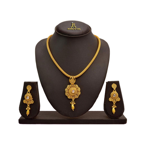 JFL - Jewellery for Less Traditional Ethnic 1 g Gold-Plated Spiral Designer Pendant Set for Women