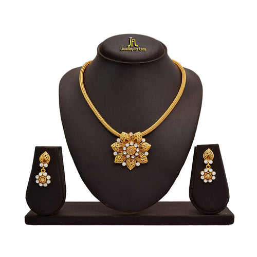 JFL - Traditional Ethnic One Gram Gold Plated Diamond Designer Pendant Set for Women and Girls