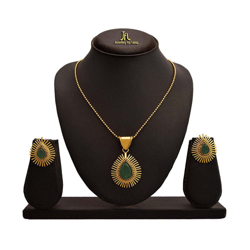 BFC Green Copper and Gold-Plated Pendant Set for Women