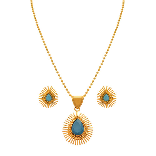 JFL - Radiant Rays One Gram Gold Plated Designer Pendant Set for Girls and Women -