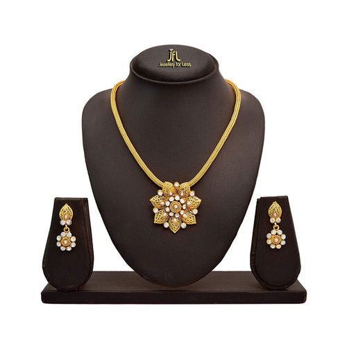 JFL - Beautiful Gold Plated Pearl Diamond Designer Pendant Set for Women and Girls
