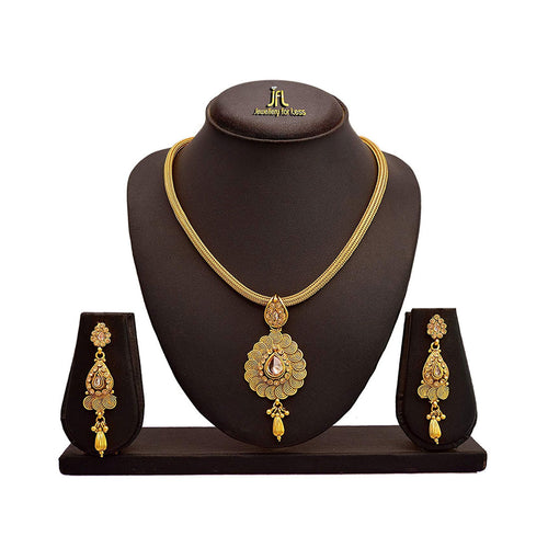 JFL - Jewellery for Less Beautiful Diamond Spiral Pendant with Chain & Earring Set for Women & Girls