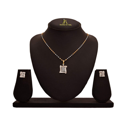 JFL -Traditional Ethnic One Gram Gold Plated CZ American Diamond Designer Pendant Set for Girls & Women.