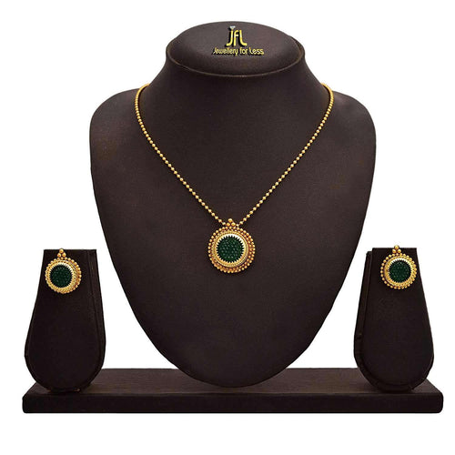 JFL -Traditional Ethnic One Gram Gold Plated Stone Designer Pendant Set For Women & Girls.