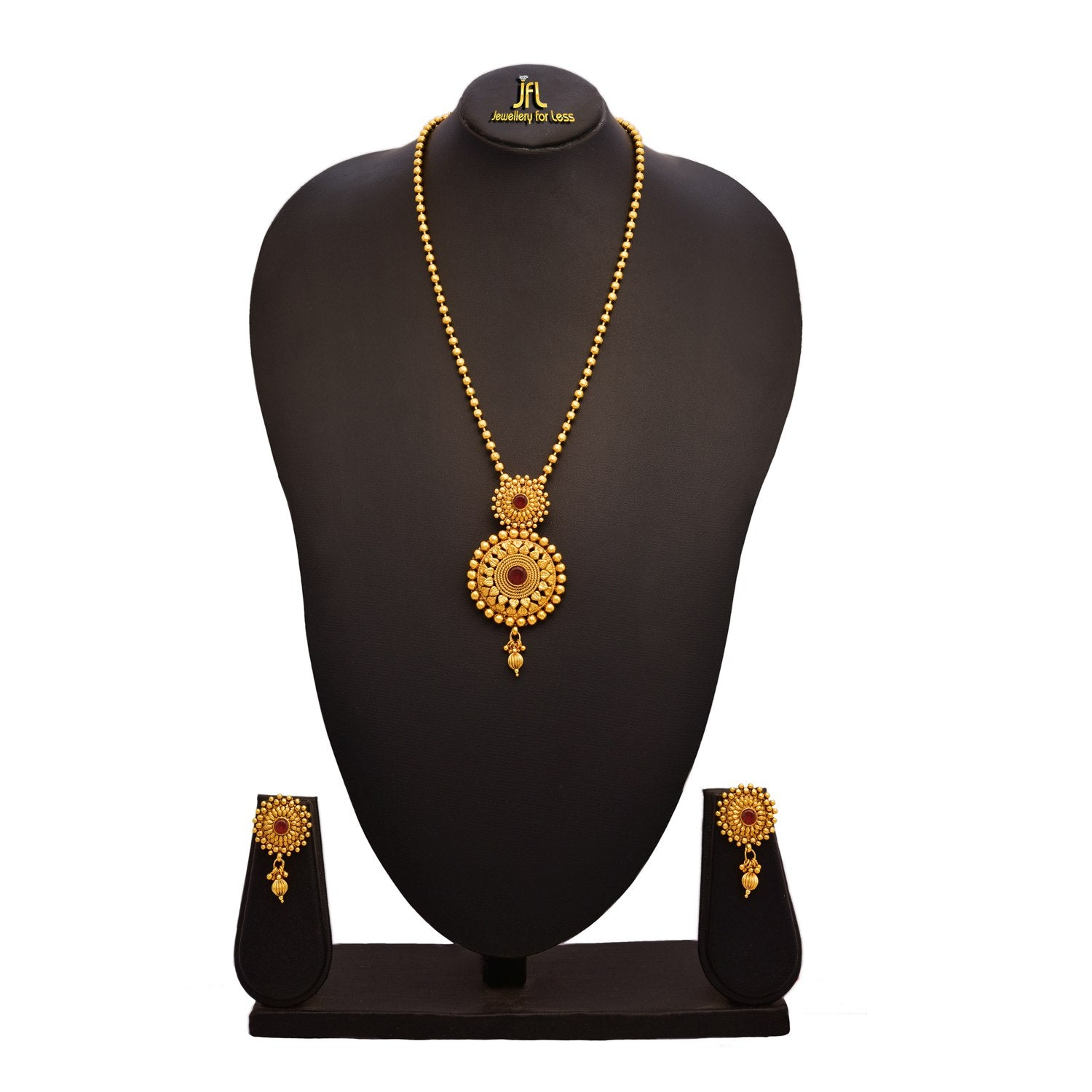 JFL -Traditional Ethnic One Gram Gold Plated Stone Designer Gorgeous Pendant Set With Gold beaded Chain For Women
