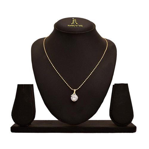 JFL - Western Wear High Gold Plated Solitaire Diamond Designer Delicate Pendant for Women & Girls