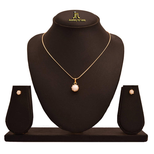 JFL - Stylish Ethnic One Gram Gold Plated Pearl Designer Pendant Set for Women & Girls.