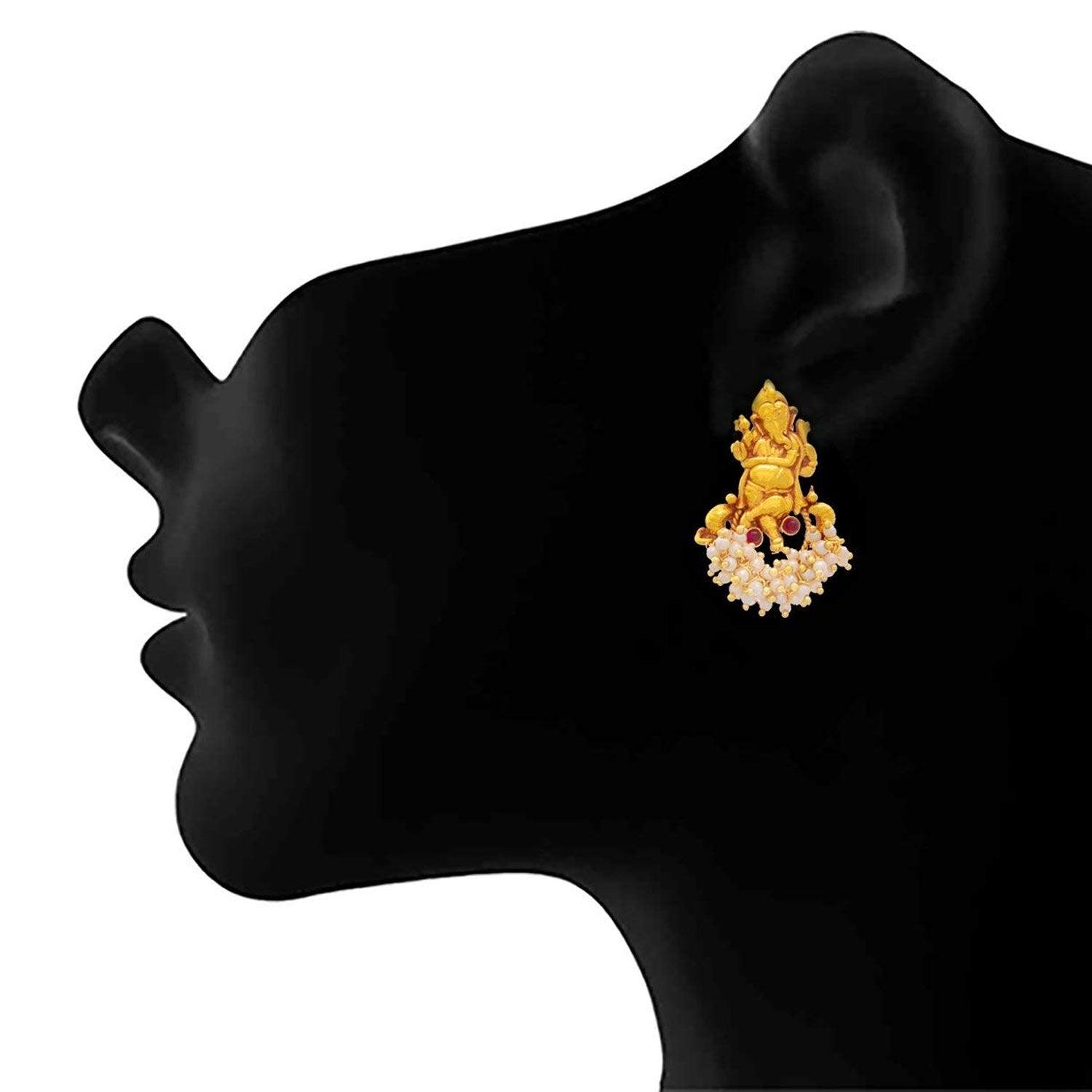 Traditional Ethnic Temple Lord Ganesha One Gram Gold Plated Stone Designer Pendant Set with Pearls for Women