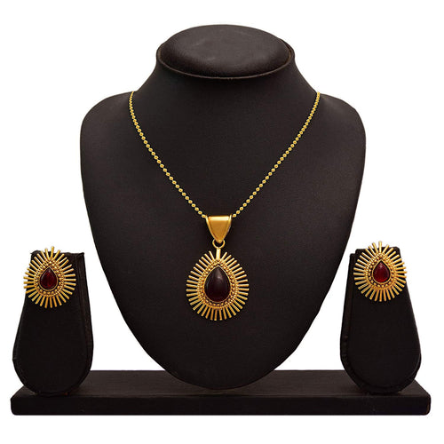 BFC Red Copper Gold-Plated Pendant Set with 18-inches Chain for Women
