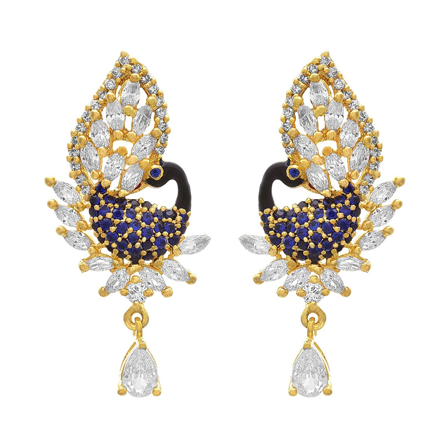 JFL - Jewellery for Less Fusion Ethnic One Gram Gold Plated American Diamond Meenakari Peacock Designer Pendant Set for Women & Girls