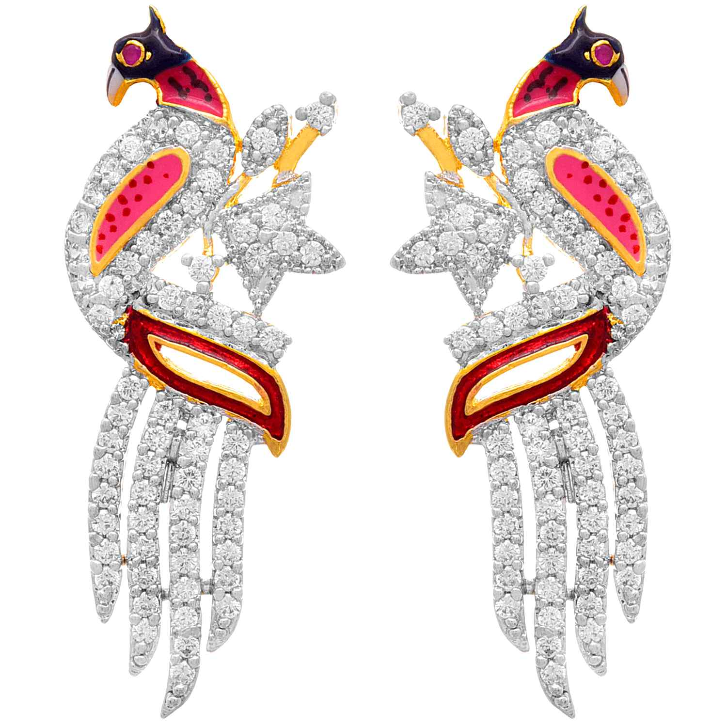 JFL - Traditional Ethnic Fusion One Gram Gold Plated Cz Cubic Zircon American Diamond Meenakari Peacock Designer Pendant Set with Earring for Women & Girls