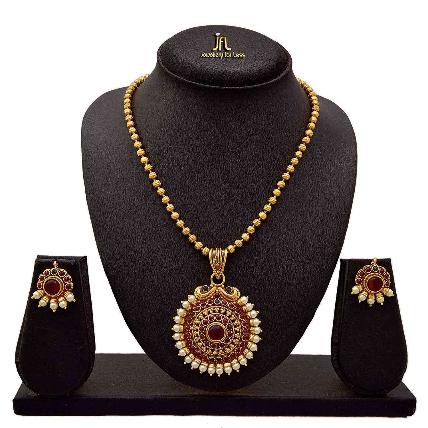JFL - Traditional Ethnic Kemp One Gram Gold Plated Designer Pendant Set studded with Pink Stones & Pearls for Girls & Women