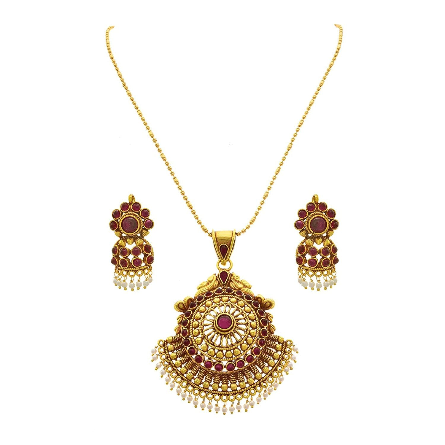 JFL - Traditional Ethnic Temple Floral Dark Pink - Rani/Mergenta One Gram Gold Plated Designer Pendant Set with Chain For Women