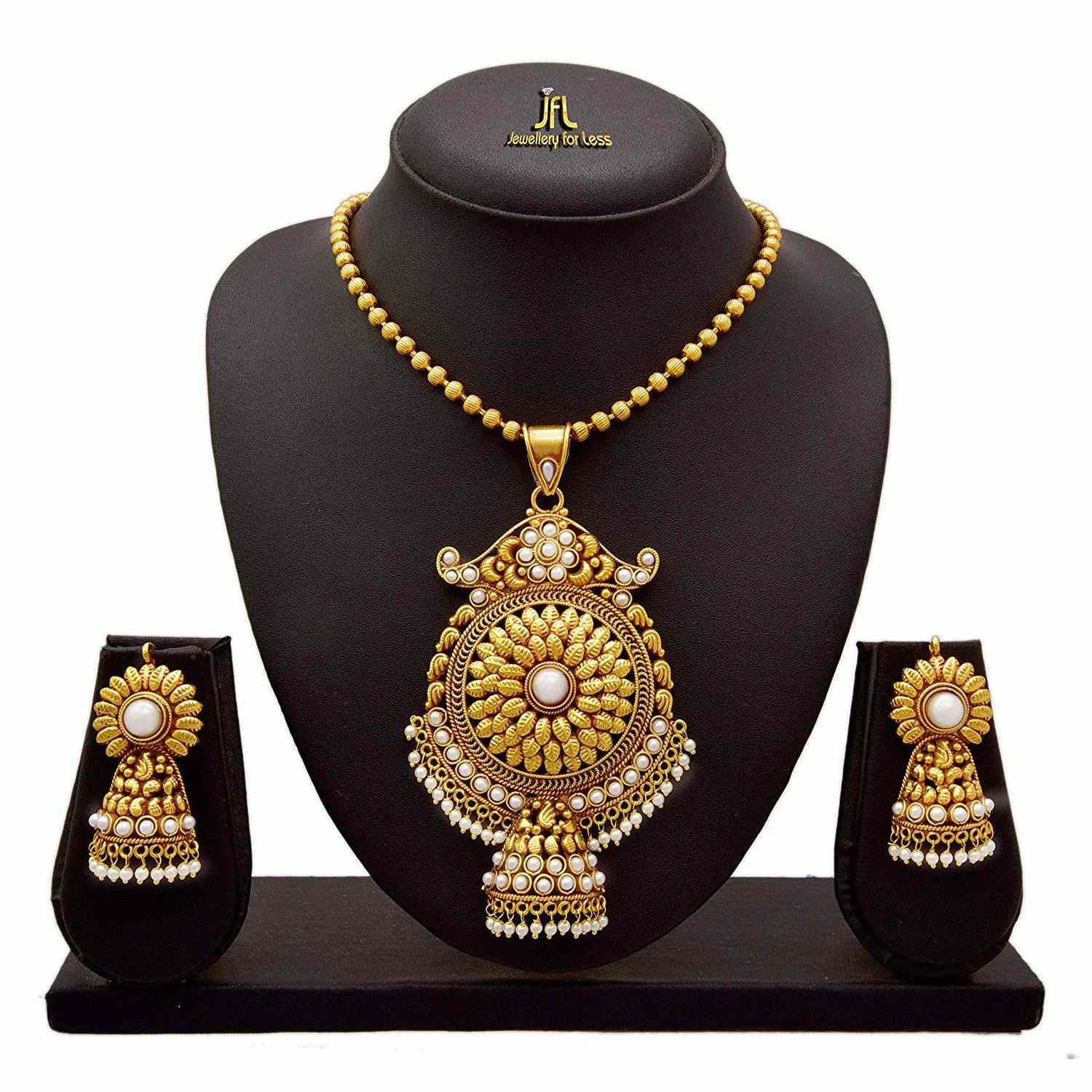 JFL - Traditional Ethnic One Gram Gold Plated Pearl Designer Pendant Set for Women and Girls