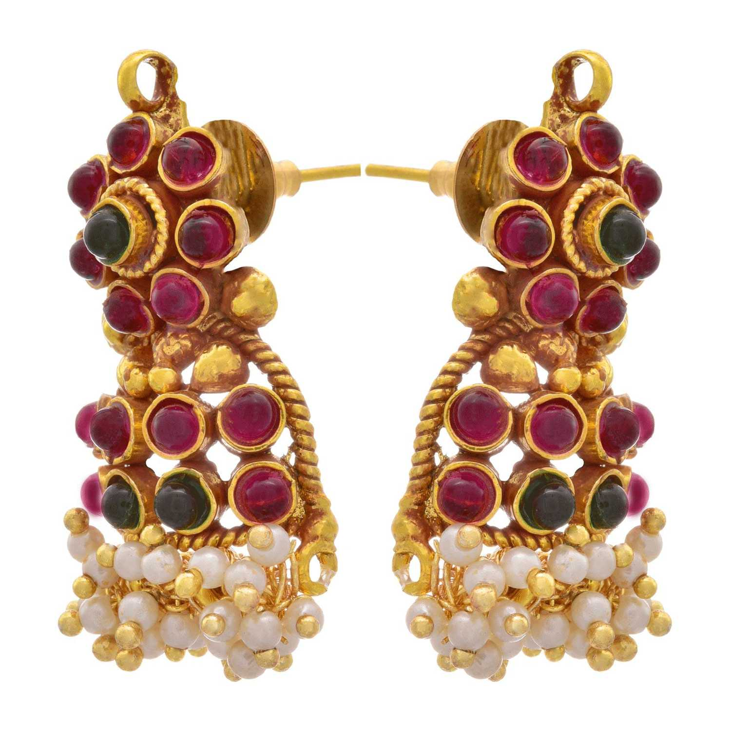 JFL - Traditional & Ethnic One Gram Gold Plated Red & Green Stone, Pearl Designer Pendant Set with Earring for Women & Girls