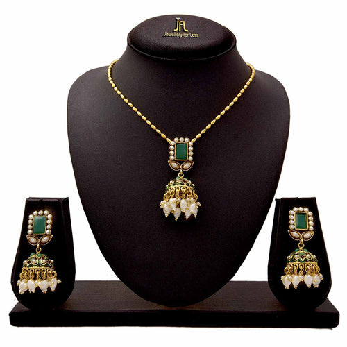 JFL - Traditional Ethnic One Gram Gold Plated Stones Pearls Designer Pendant Set for Women & Girls