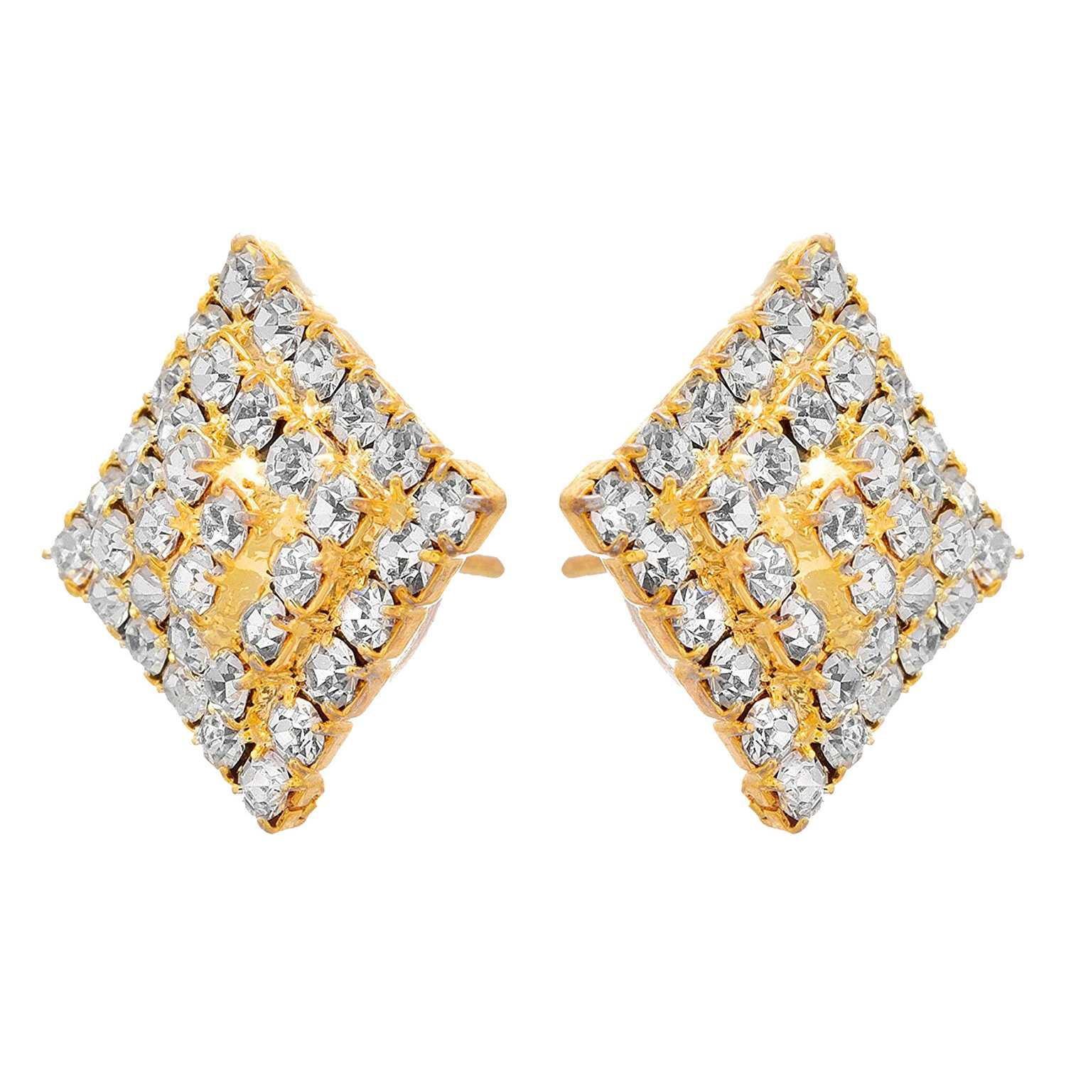 Traditional Ethnic Fusion One Gram Gold Plated Cz American Diamond Designer Pendant Set With Earring for Women