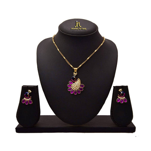 JFL - Tantalizing Peacock One Gram Gold Plated pearl Designer Pendant Set for Girl and Women.