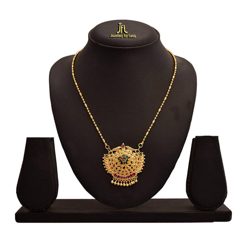 JFL - Traditional Ethnic One Gram Gold Plated Diamond Designer Pendant with Gold Beaded Chain for Women & Girls