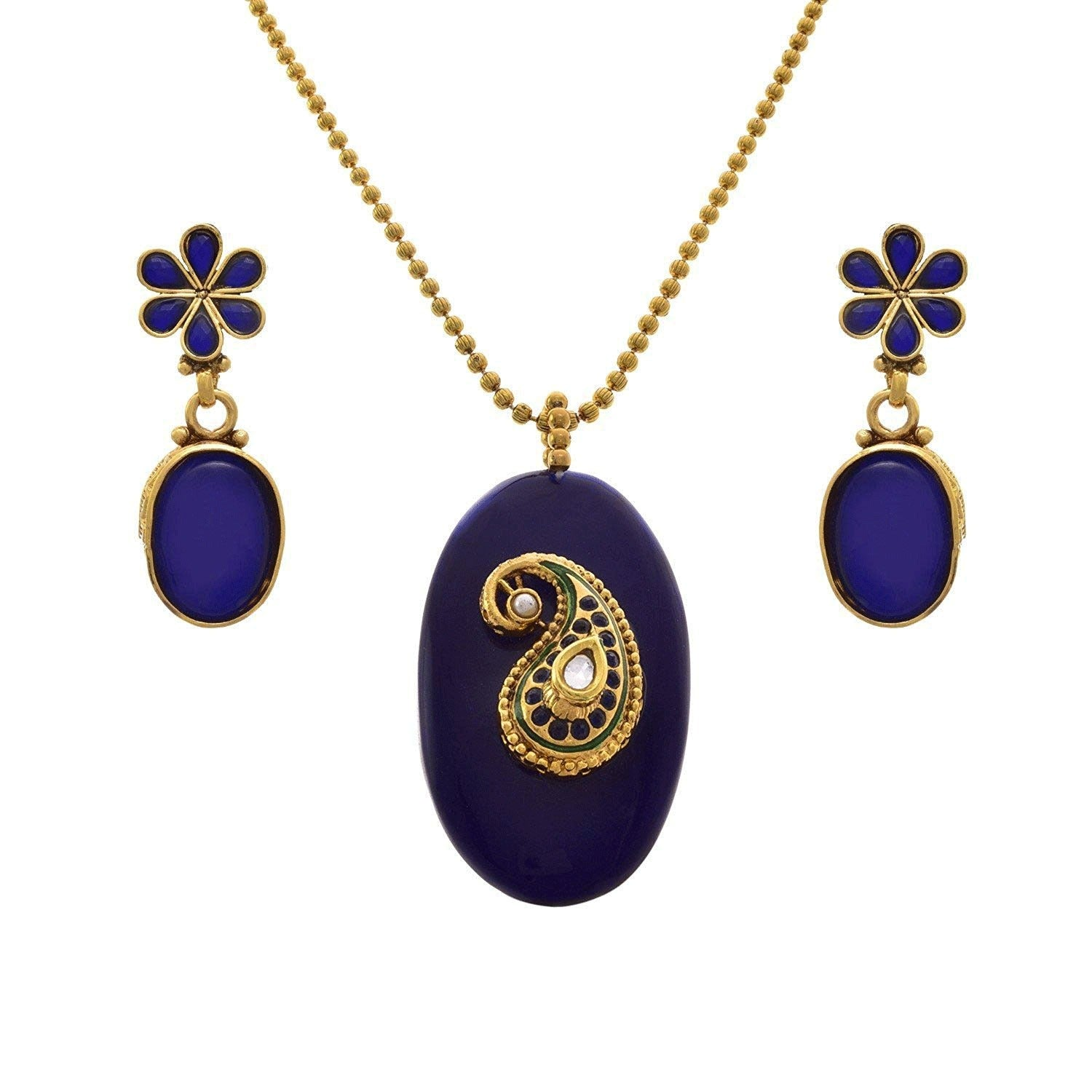 JFL- Karismatic Kaerie Designer One Gram Gold Plated Kundan Designer Pendant Set for Girl and Women.