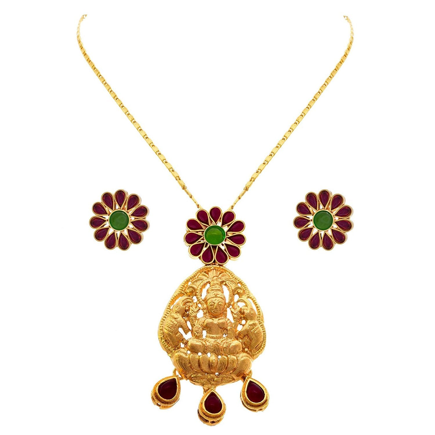 JFL - Traditional Ethnic Temple Goddess Laxmi One Gram Gold Plated Pink & Green Stone Designer Pendant Set with Earrings for Women & Girls.