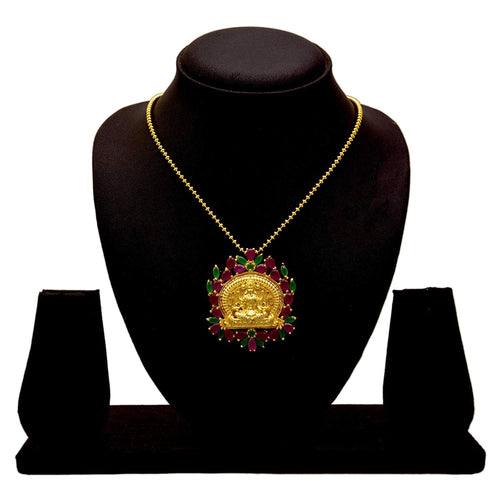 JFL - Traditional Ethnic Temple Goddess Laxmi One Gram Gold Plated Ruby Designer Pendant  for Women