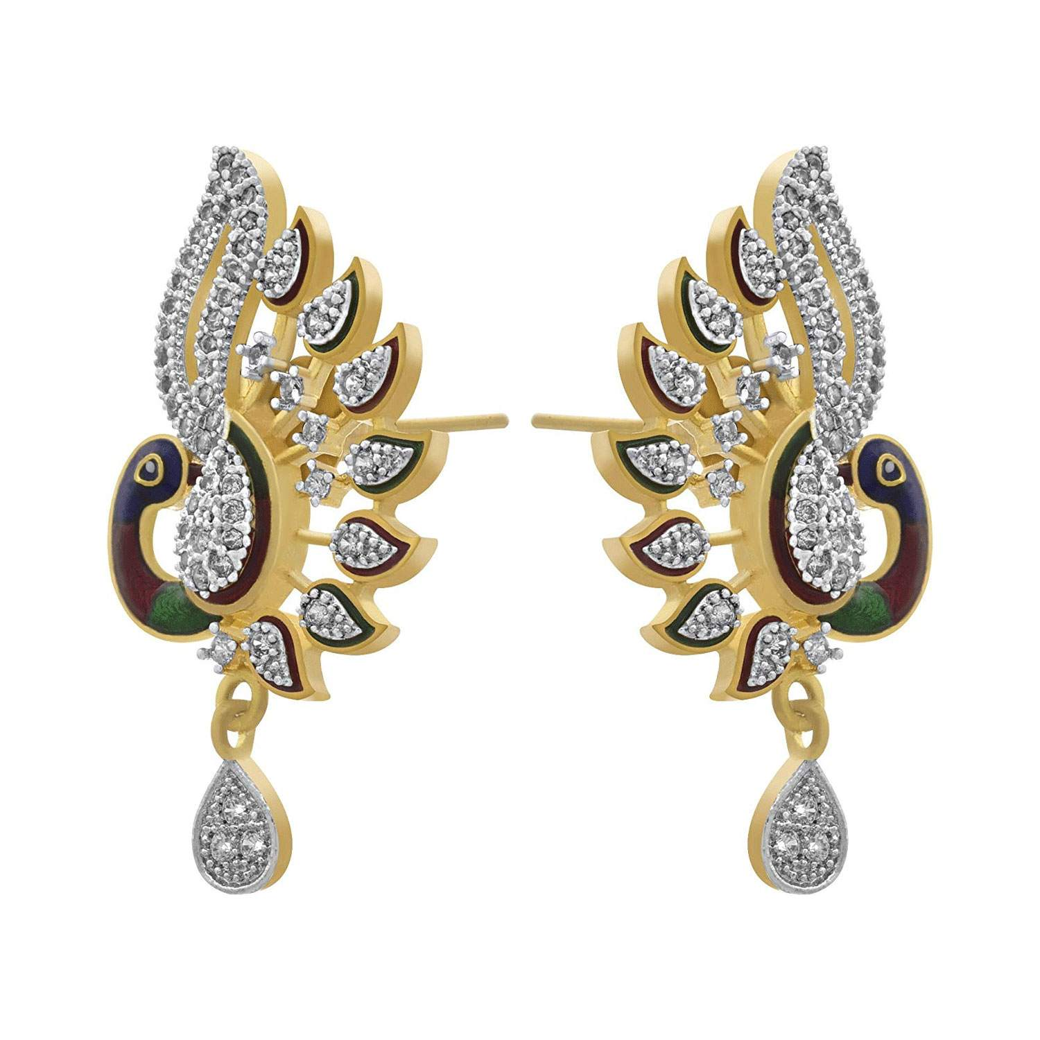 JFL - Traditional Fusion Ethnic One Gram Gold Plated Cz American Diamond Peacock Designer Pendant Set for Women & Girls.