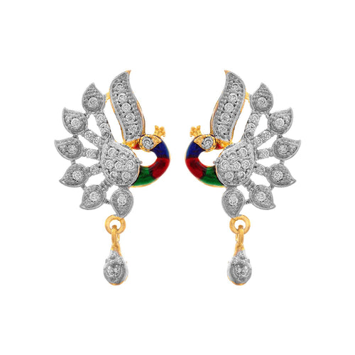 JFL - Traditional Ethnic Fusion One Gram Gold Plated Cz American Diamond Peacock Designer Pendant Set with Earring for Women & Girls