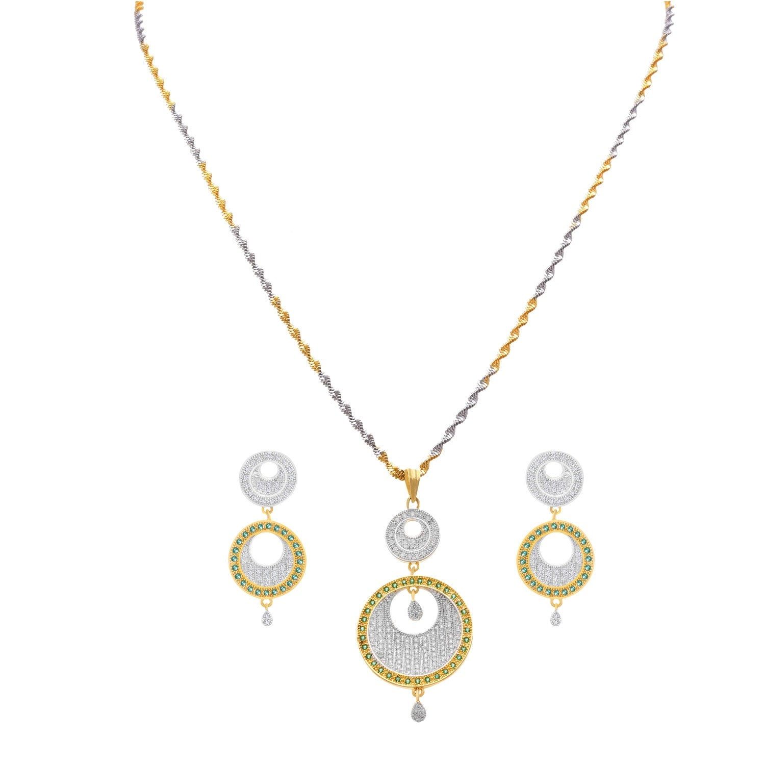 JFL - Ethnic Stylish One Gram Gold & Silver Plated Cz American Diamond Designer Pendant Set for Women and Girls.
