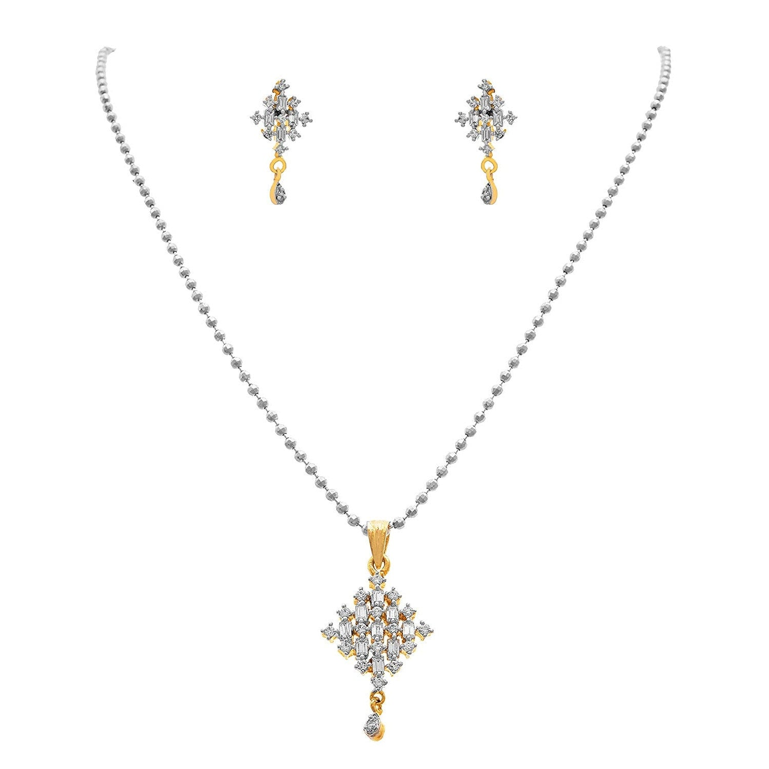 JFL- Fusion Ethnic Cz Cubic Zircon American Diamond One Gram Gold & Silver Plated Designer Pendant Set with Chain for Girls and Women