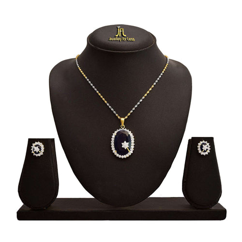 JFL - Fashion Ethnic One Gram Gold Plated Sapphire & Cz American Diamond Designer Pendant Set for Women.