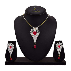 JFL -Traditional Ethnic One Gram Gold Plated Ruby & Cz American Diamond Designer Pendant Set For Women.