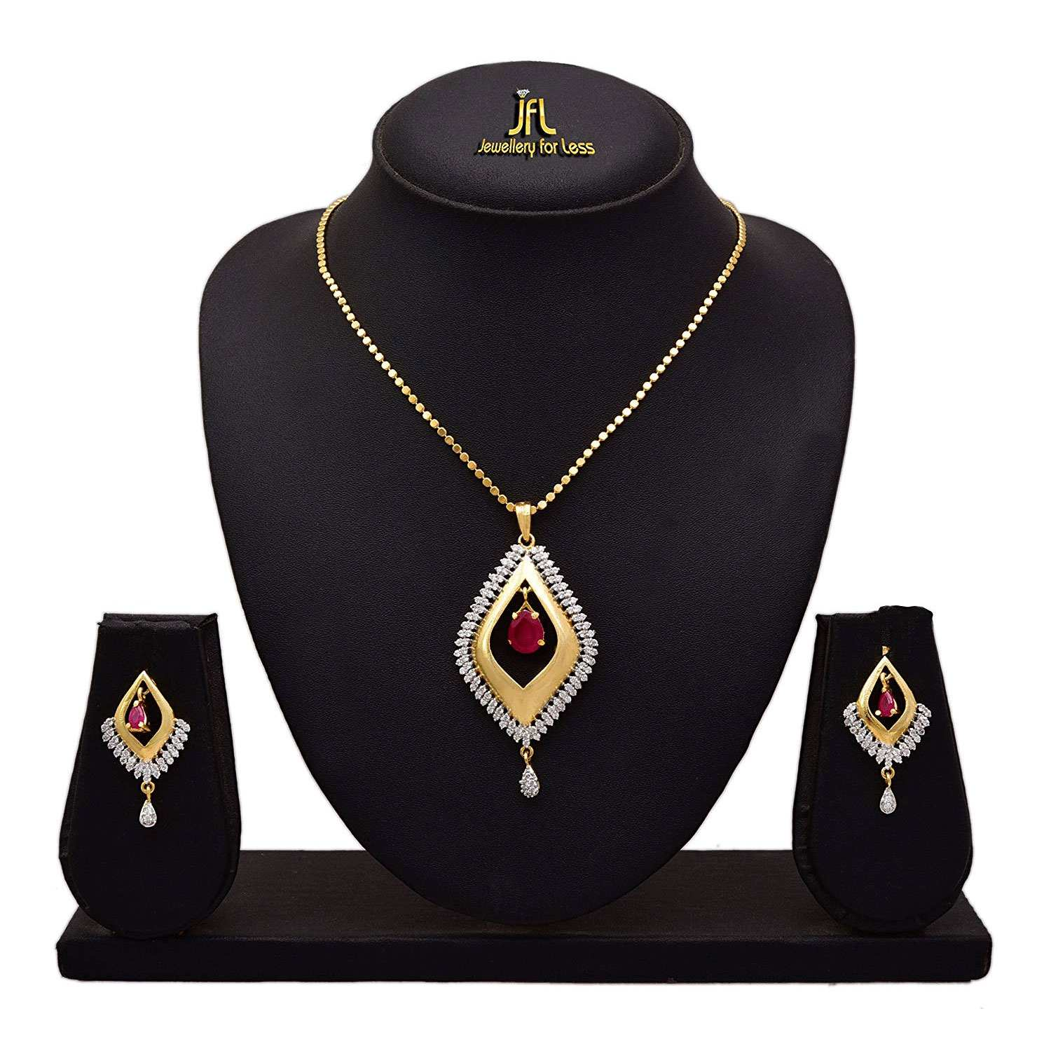 JFL - Jewellery for Less Fusion Ethnic One Gram Gold Plated Cz American Diamond Designer Pendant Set for Women & Girls