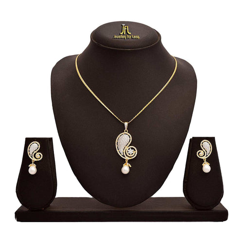 JFL -Stylish Ethnic One Gram Gold Plated Cz American Diamond & Pearl Designer Pendant Set with Intricate Jali Work For Women.