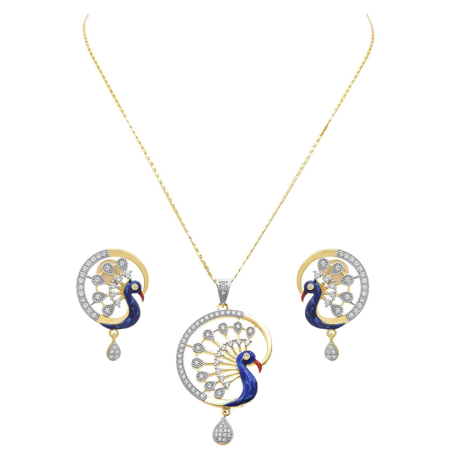 JFL - Jewellery for Less Traditional Ethnic Fusion One Gram Gold Plated American Diamond Peacock Designer Pendant Set and Earring for Women & Girls