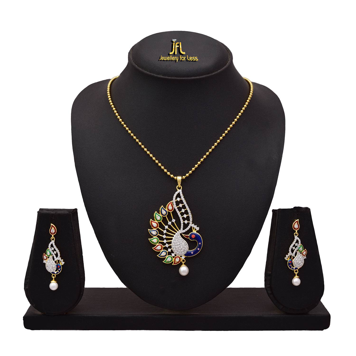 JFL - Traditional Ethnic One Gram Gold Plated Cz American Diamond With Meenakari Peacock Designer Pendant Set for Women.