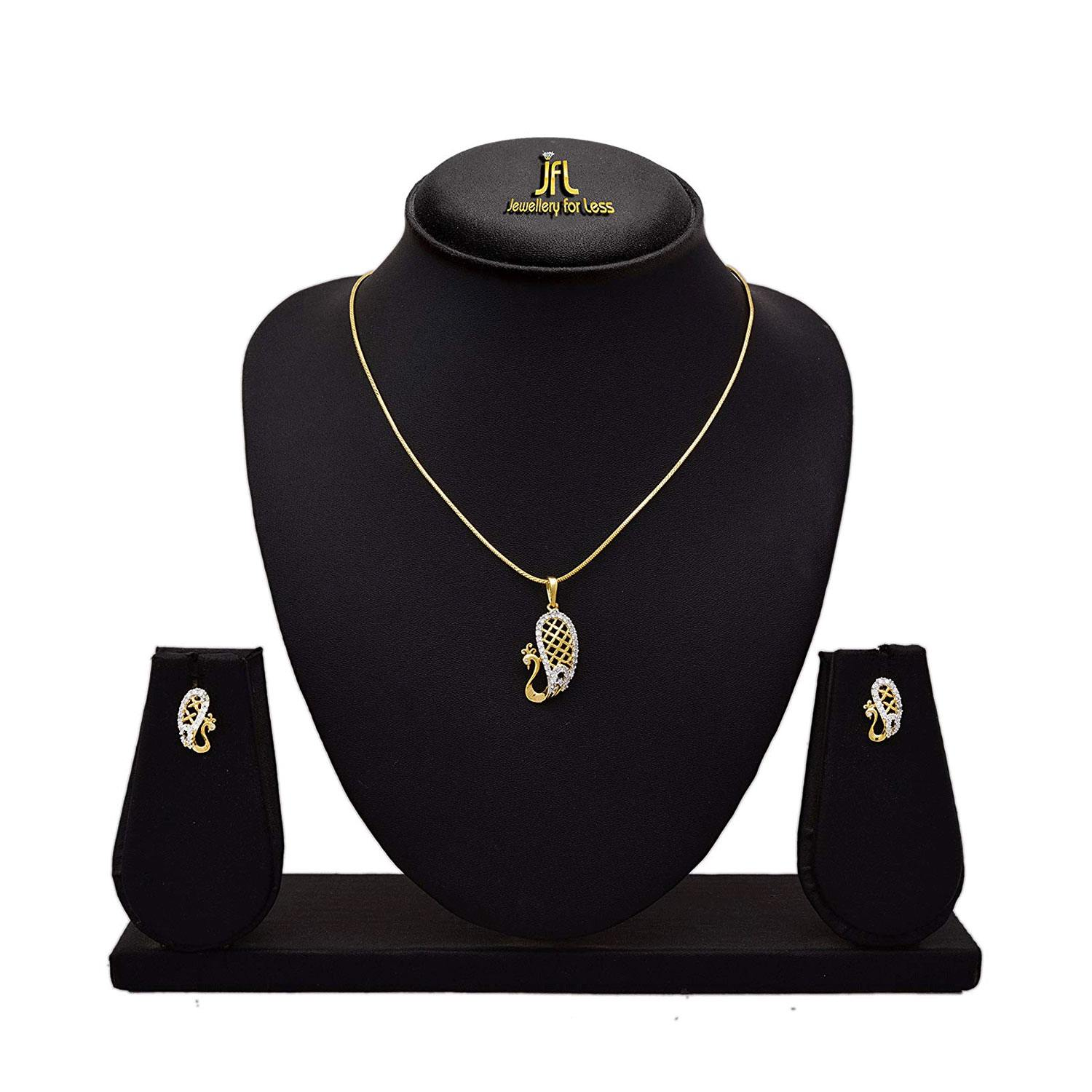 JFL- Fusion Ethnic Cz Cubic Zircon American Diamond One Gram Gold Plated Designer Pendant Set with Chain for Girls and Women