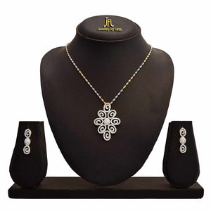 JFL -Traditional Ethnic One Gram Gold Plated American Diamond Designer Pendant Set For Women.
