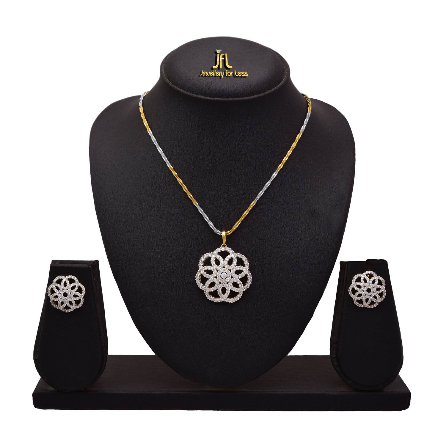 JFL - Jewellery for Less Fusion Ethnic One Gram Gold Plated American Diamond Designer Pendant Set for Women & Girls