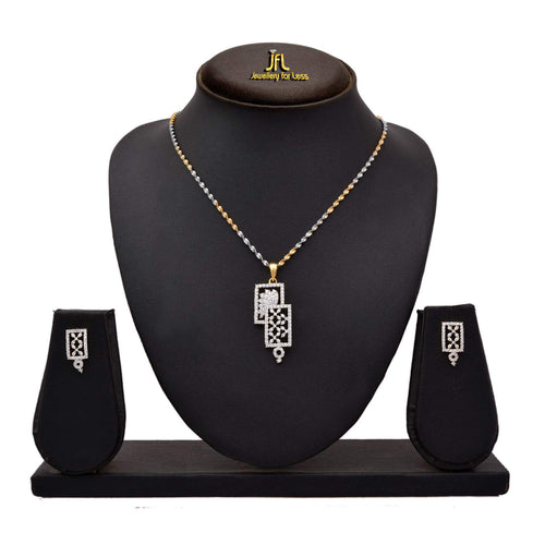 JFL - Stylish Ethnic One Gram Gold Plated CZ American Diamond Designer Pendant Set with Earring for Women and Girls.