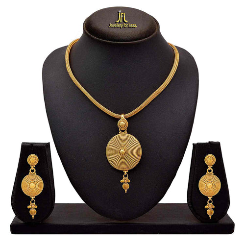 Traditional Ethnic One Gram Gold Plated Designer Pendant Set for Women