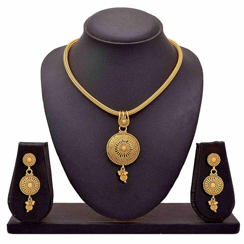 Traditional Ethnic One Gram Gold Plated Designer Pendant Set for for Women