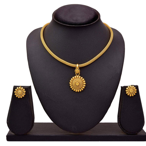 BFC Antique Gold Plated Pendant Set with Stud Earrings for Women