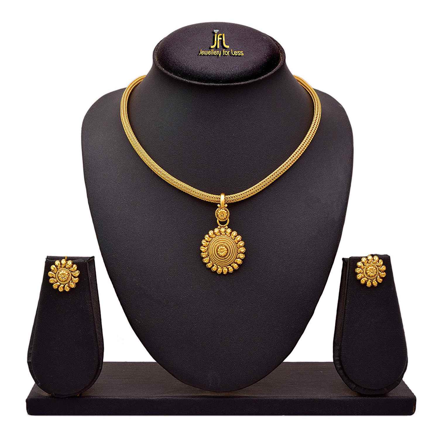 Traditional Ethnic One Gram Gold Plated Pendant Set For Women