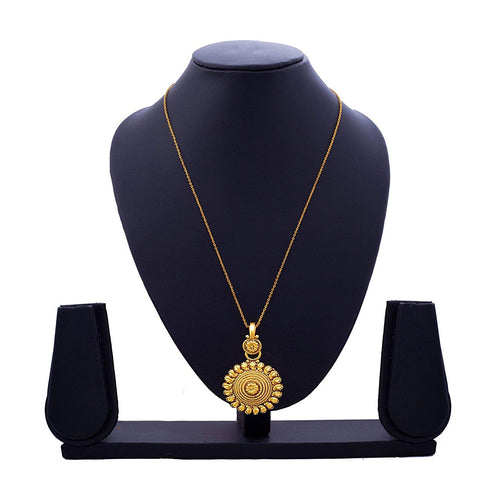 BFC Traditional 1 Gm Gold Plated Pendant with 18 Inches Chain for Women and Girls