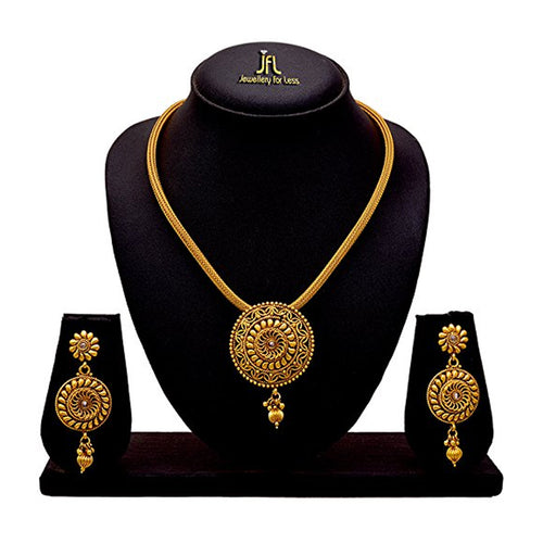 JFL - Jewellery for Less Traditional Ethnic One g Gold Plated Polki Designer Pendant Set with Earring for Women